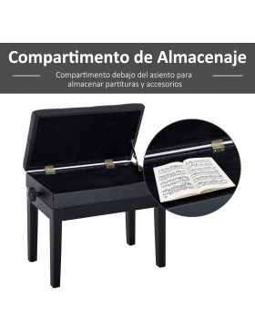 BANQUETA REGULABLE PIANO CON CAJON PARTITURAS